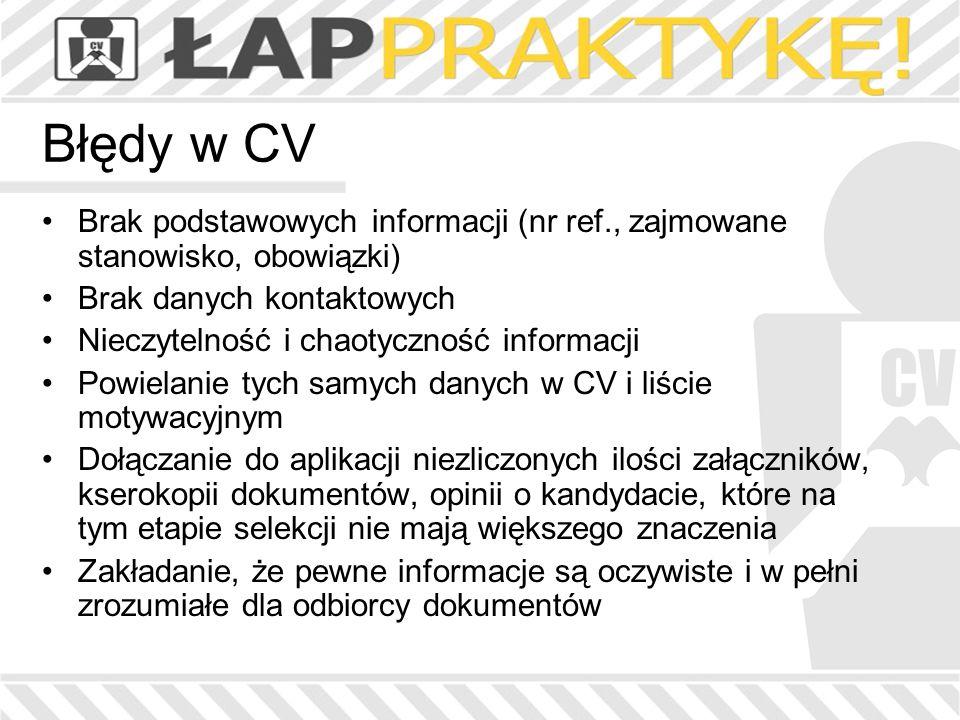 Błędy w CV Brak podstawowych informacji (nr ref., zajmowane stanowisko, obowiązki) Brak danych kontaktowych Nieczytelność i chaotyczność informacji Po