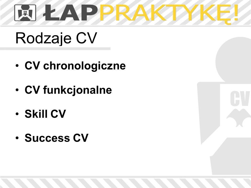 Rodzaje CV CV chronologiczne CV funkcjonalne Skill CV Success CV