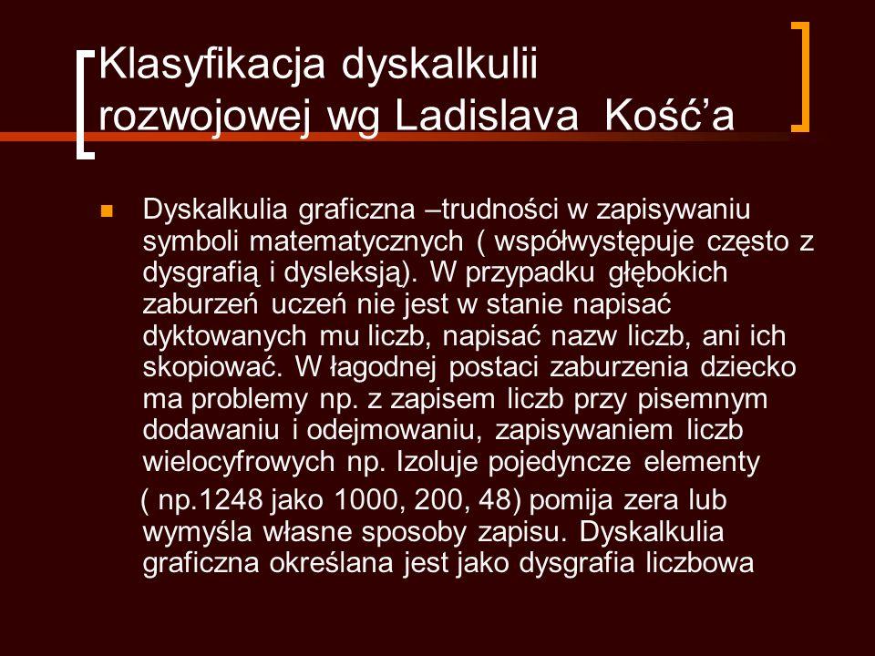 Klasyfikacja dyskalkulii rozwojowej wg Ladislava Kośća Dyskalkulia graficzna –trudności w zapisywaniu symboli matematycznych ( współwystępuje często z dysgrafią i dysleksją).