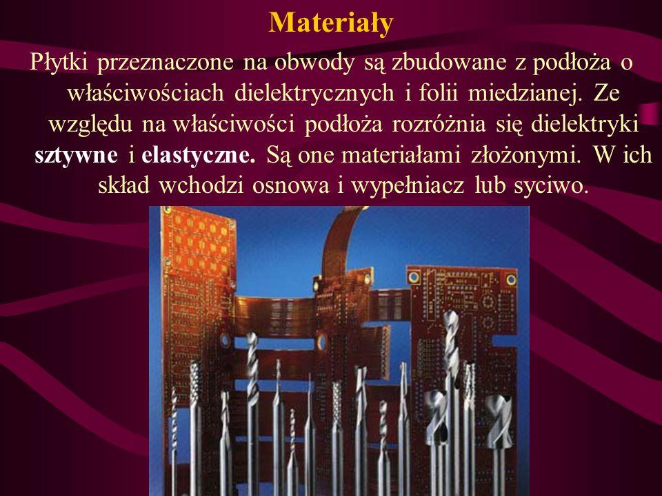 Materiały Płytki przeznaczone na obwody są zbudowane z podłoża o właściwościach dielektrycznych i folii miedzianej.