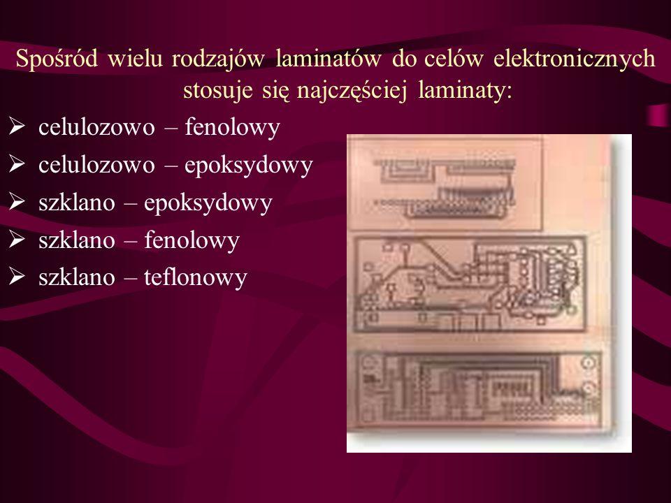 Materiały Płytki przeznaczone na obwody są zbudowane z podłoża o właściwościach dielektrycznych i folii miedzianej. Ze względu na właściwości podłoża