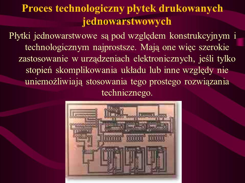 Proces technologiczny płytek drukowanych jednowarstwowych Płytki jednowarstwowe są pod względem konstrukcyjnym i technologicznym najprostsze.