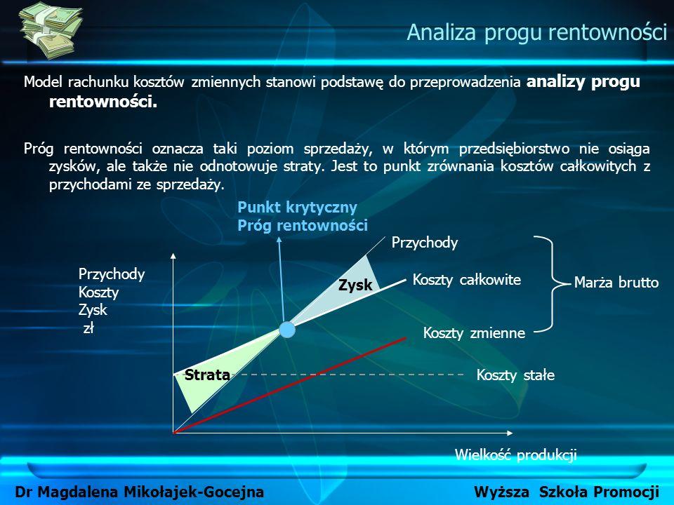 Model rachunku kosztów zmiennych stanowi podstawę do przeprowadzenia analizy progu rentowności. Próg rentowności oznacza taki poziom sprzedaży, w któr