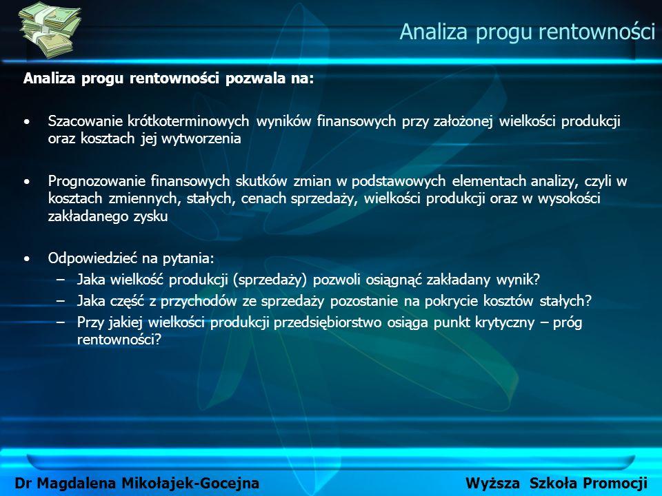 Analiza progu rentowności pozwala na: Szacowanie krótkoterminowych wyników finansowych przy założonej wielkości produkcji oraz kosztach jej wytworzeni