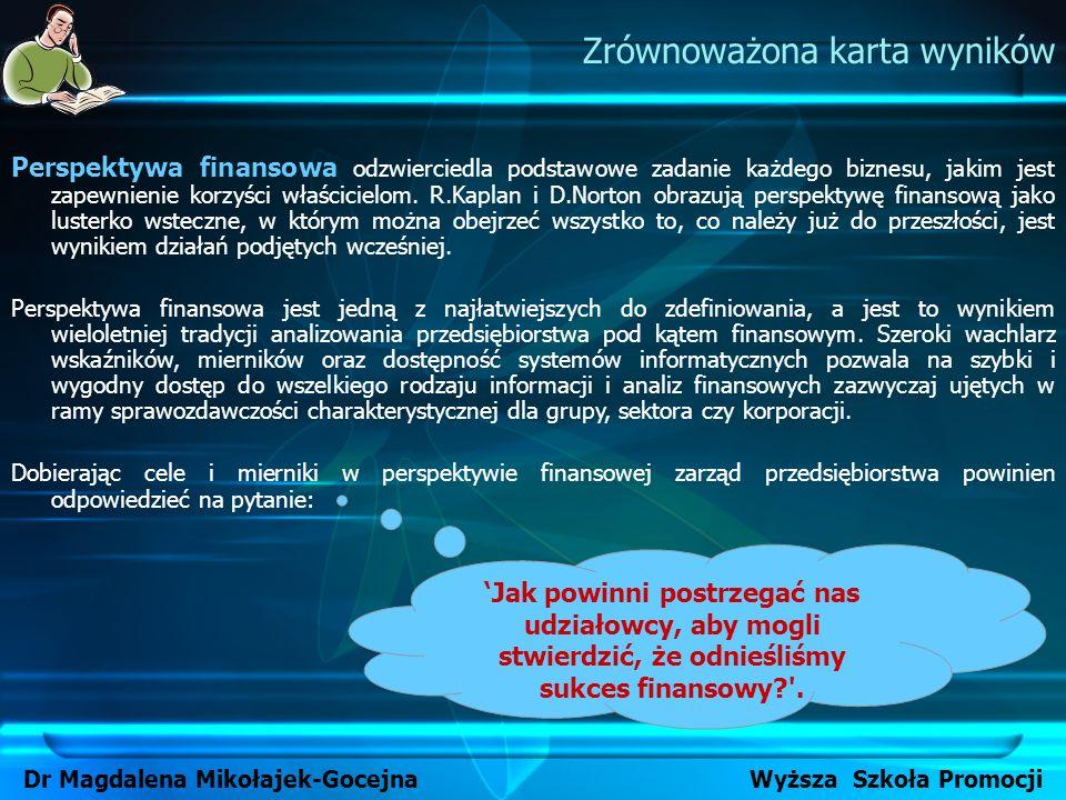 Zrównoważona karta wyników Dr Magdalena Mikołajek-Gocejna Wyższa Szkoła Promocji Perspektywa finansowa odzwierciedla podstawowe zadanie każdego biznes