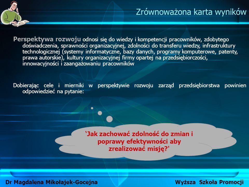 Zrównoważona karta wyników Dr Magdalena Mikołajek-Gocejna Wyższa Szkoła Promocji Perspektywa rozwoju odnosi się do wiedzy i kompetencji pracowników, z