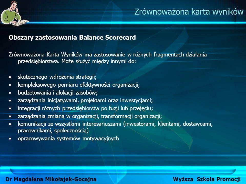Obszary zastosowania Balance Scorecard Zrównoważona Karta Wyników ma zastosowanie w różnych fragmentach działania przedsiębiorstwa. Może służyć między