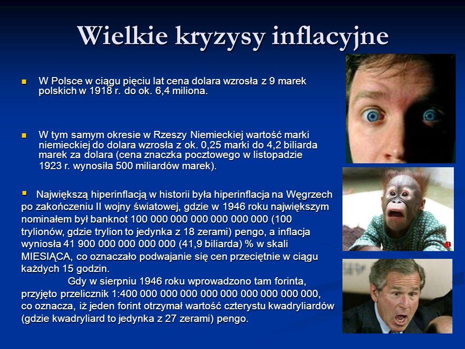 Wielkie kryzysy inflacyjne W Polsce w ciągu pięciu lat cena dolara wzrosła z 9 marek polskich w 1918 r. do ok. 6,4 miliona. W Polsce w ciągu pięciu la