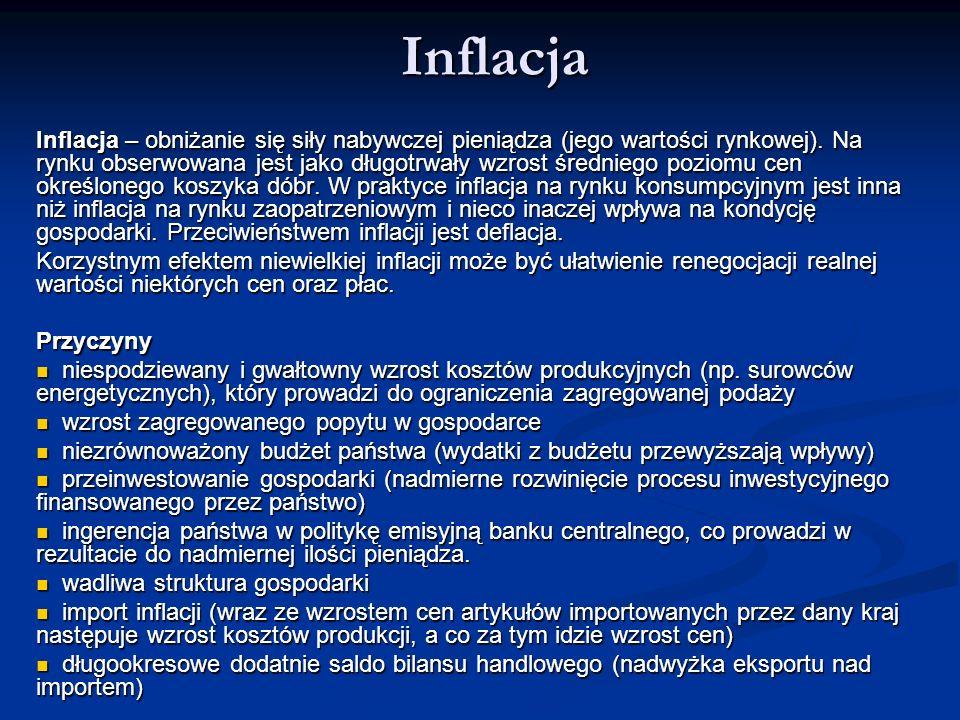 Inflacja Inflacja – obniżanie się siły nabywczej pieniądza (jego wartości rynkowej). Na rynku obserwowana jest jako długotrwały wzrost średniego pozio