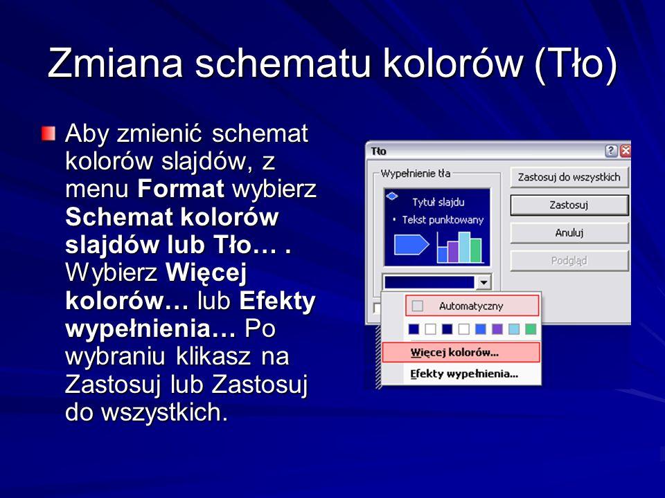 Zmiana schematu kolorów (Tło) Aby zmienić schemat kolorów slajdów, z menu Format wybierz Schemat kolorów slajdów lub Tło…. Wybierz Więcej kolorów… lub