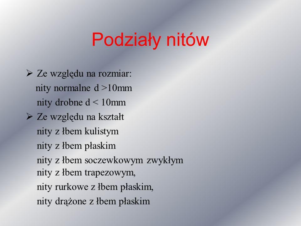 Podziały nitów Ze względu na rozmiar: nity normalne d >10mm nity drobne d < 10mm Ze względu na kształt nity z łbem kulistym nity z łbem płaskim nity z łbem soczewkowym zwykłym nity z łbem trapezowym, nity rurkowe z łbem płaskim, nity drążone z łbem płaskim
