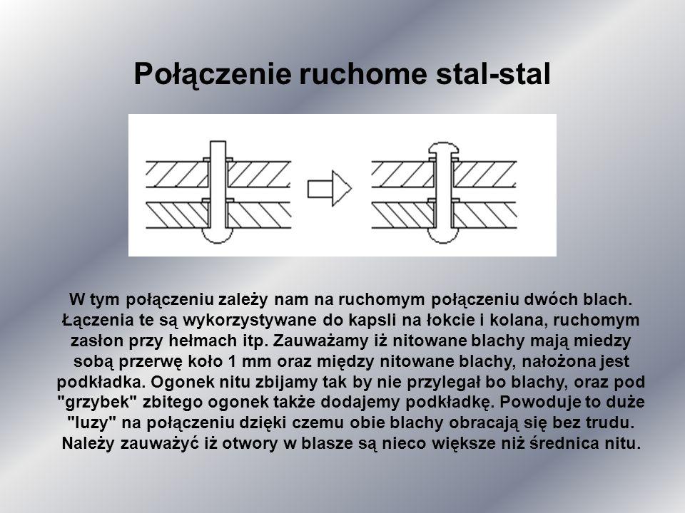 W takim połączeniu zależy nam na stałym połączeniu nitem dwóch elementów blachy. Są to tak zwane nity konstrukcyjne. Widzimy iż ogonek nitu powinien w