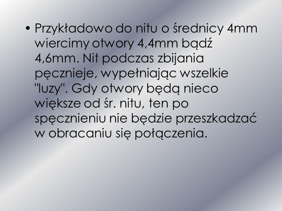 Rozkład naprężeń wzdłuż trzpienia nitu: a) dwuciętego, b) jednociętego