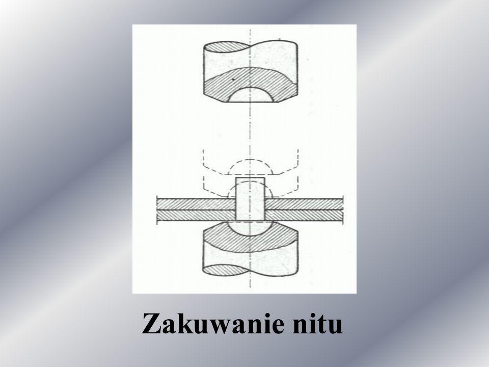 Najpierw trzpień nitu należy spęczyć do średnicy otworu, a dopiero potem wyrobić nakuwkę. Nity o średnicy 4, 6, 8 mm, zakuwane na zimno, stosuje się t