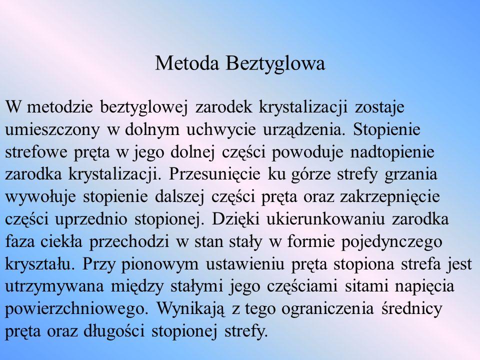Metoda Beztyglowa W metodzie beztyglowej zarodek krystalizacji zostaje umieszczony w dolnym uchwycie urządzenia. Stopienie strefowe pręta w jego dolne