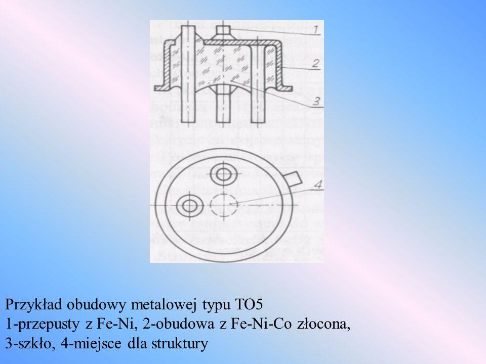 Przykład obudowy metalowej typu TO5 1-przepusty z Fe-Ni, 2-obudowa z Fe-Ni-Co złocona, 3-szkło, 4-miejsce dla struktury