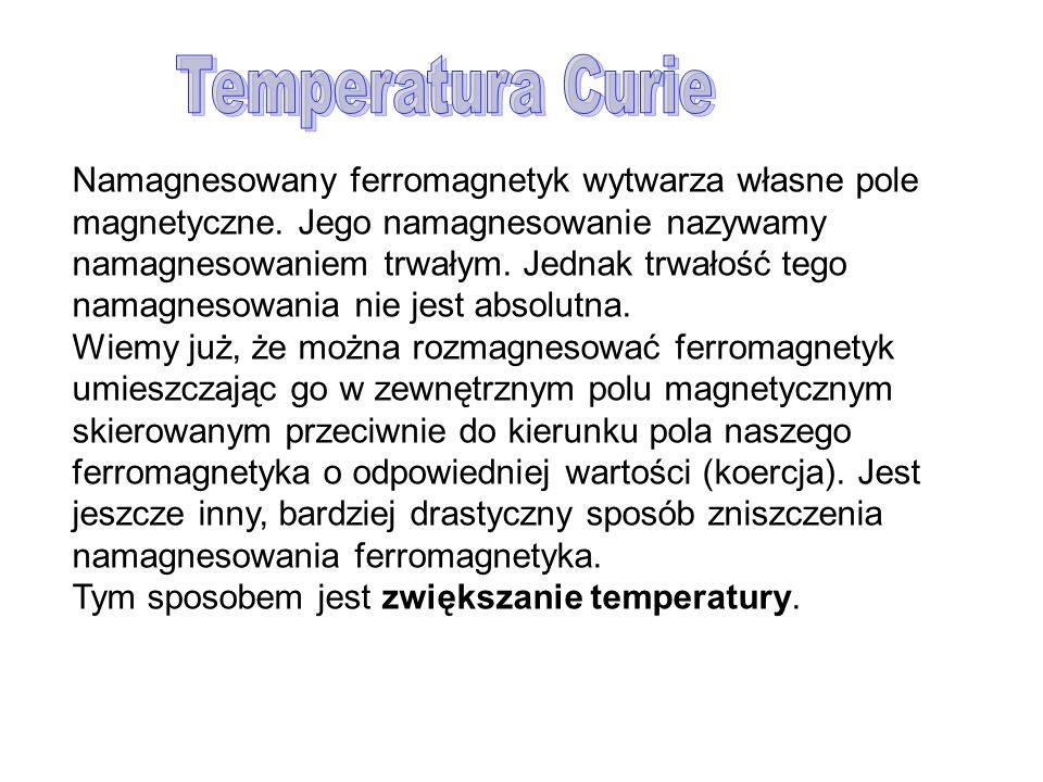 Namagnesowany ferromagnetyk wytwarza własne pole magnetyczne. Jego namagnesowanie nazywamy namagnesowaniem trwałym. Jednak trwałość tego namagnesowani