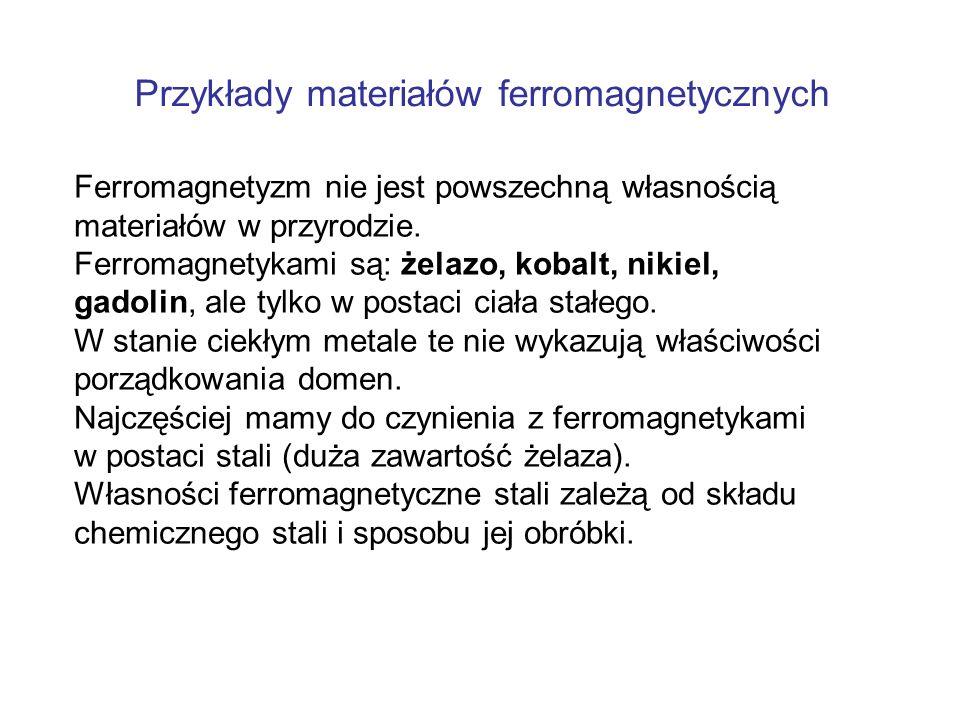 Ferromagnetyzm nie jest powszechną własnością materiałów w przyrodzie. Ferromagnetykami są: żelazo, kobalt, nikiel, gadolin, ale tylko w postaci ciała