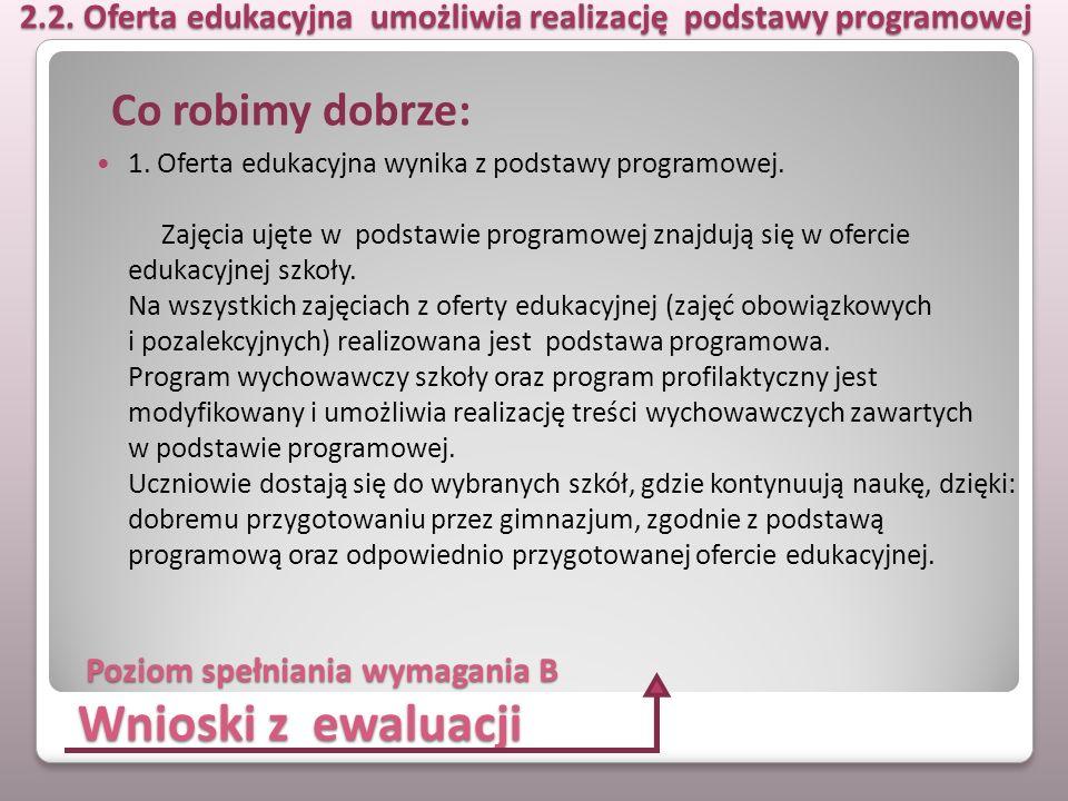 Wnioski z ewaluacji 1. Oferta edukacyjna wynika z podstawy programowej. Zajęcia ujęte w podstawie programowej znajdują się w ofercie edukacyjnej szkoł