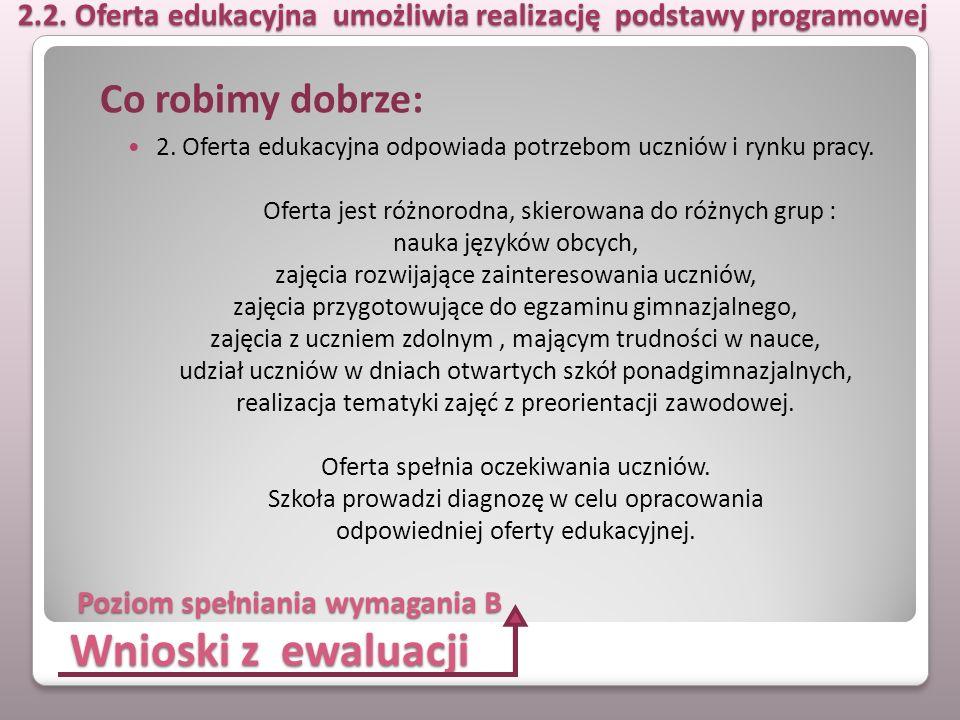 Wnioski z ewaluacji 2. Oferta edukacyjna odpowiada potrzebom uczniów i rynku pracy. Oferta jest różnorodna, skierowana do różnych grup : nauka języków