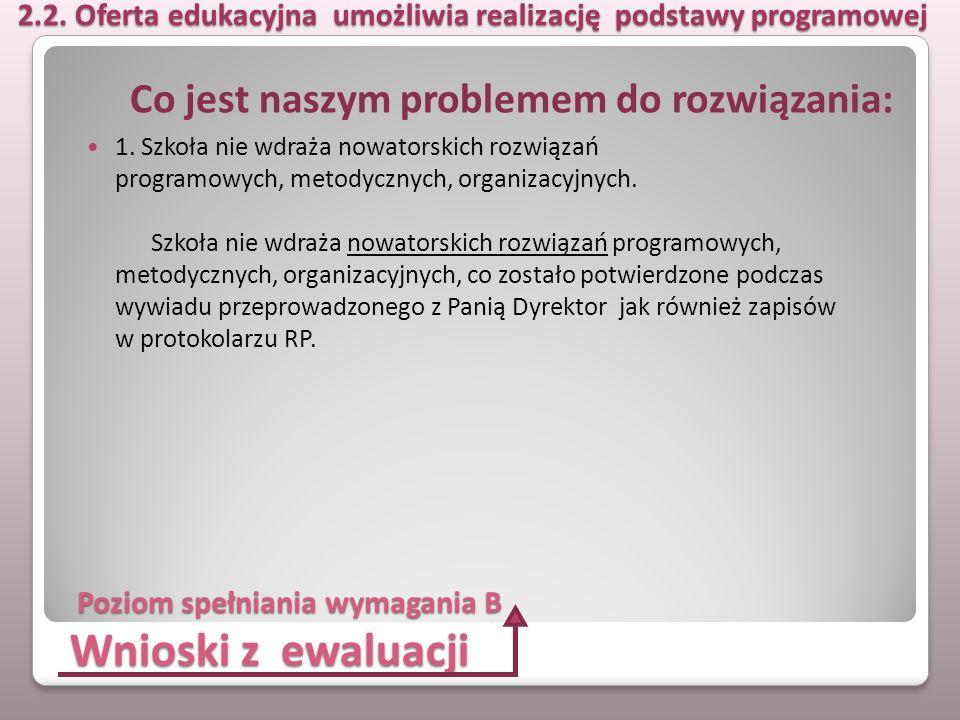 Wnioski z ewaluacji 1. Szkoła nie wdraża nowatorskich rozwiązań programowych, metodycznych, organizacyjnych. Szkoła nie wdraża nowatorskich rozwiązań