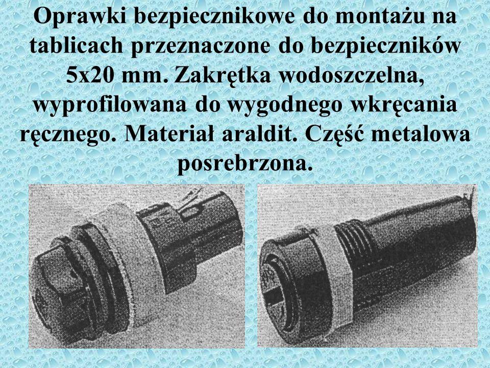 Oprawki bezpiecznikowe do montażu na tablicach przeznaczone do bezpieczników 5x20 mm. Zakrętka wodoszczelna, wyprofilowana do wygodnego wkręcania ręcz