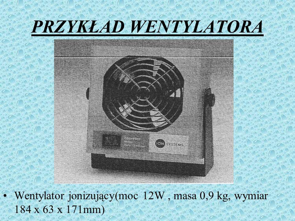 PRZYKŁAD WENTYLATORA Wentylator jonizujący(moc 12W, masa 0,9 kg, wymiar 184 x 63 x 171mm)