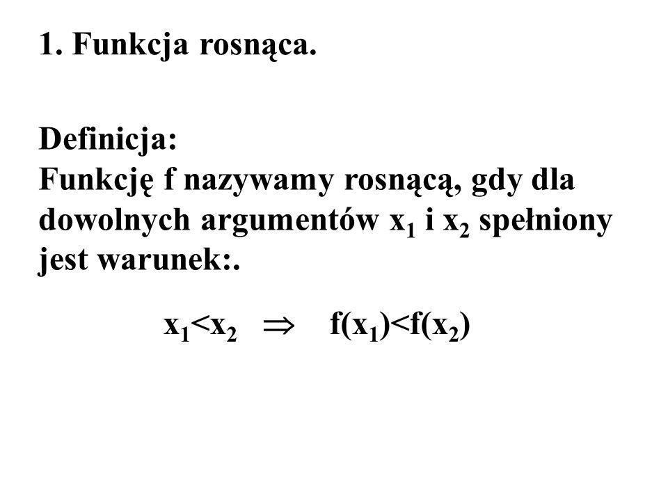 1. Funkcja rosnąca. Definicja: Funkcję f nazywamy rosnącą, gdy dla dowolnych argumentów x 1 i x 2 spełniony jest warunek:. x 1 <x 2 f(x 1 )<f(x 2 )