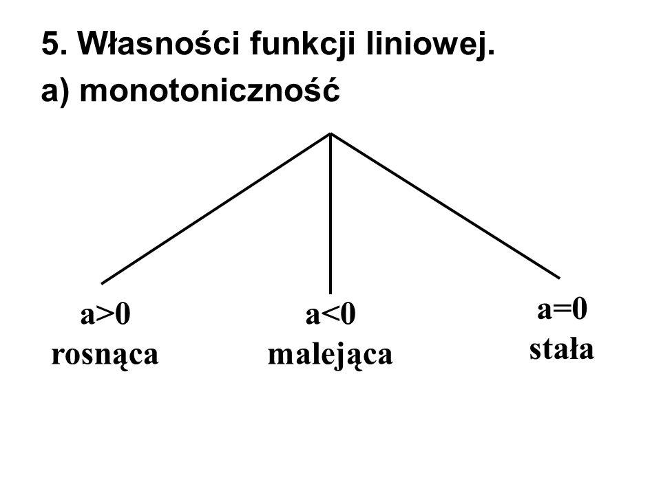 5. Własności funkcji liniowej. a) monotoniczność a<0 malejąca a>0 rosnąca a=0 stała