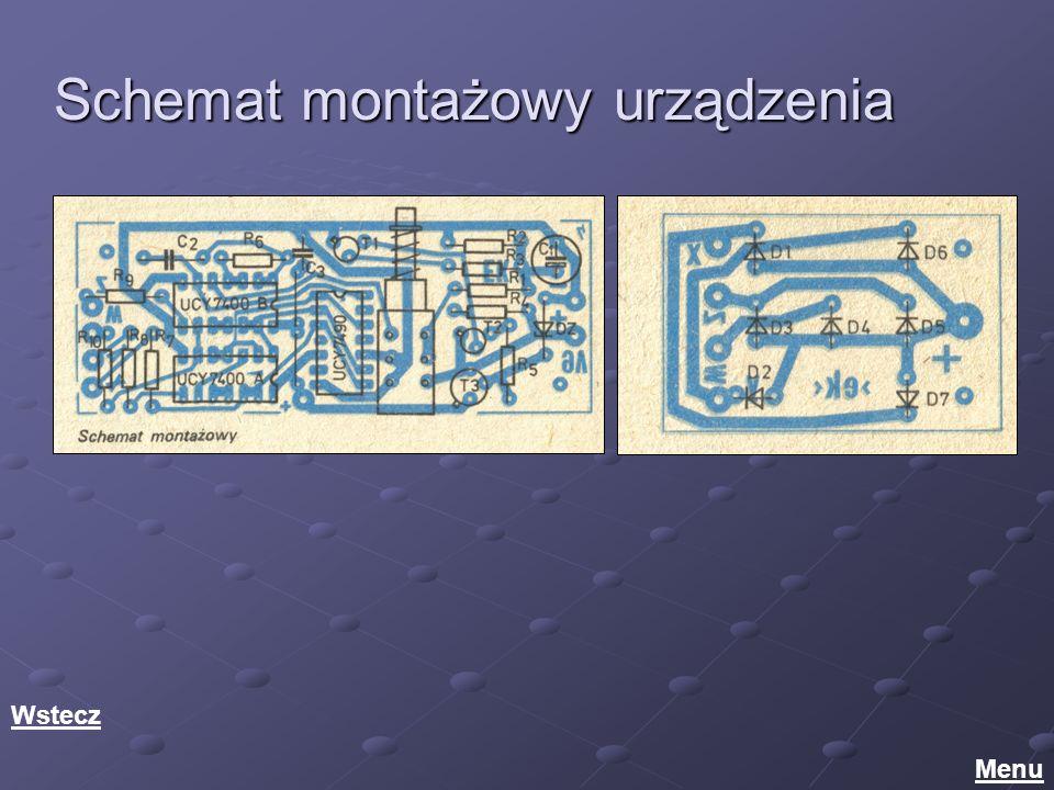 Schemat montażowy urządzenia Menu Wstecz