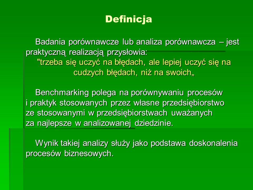 Definicja Benchmarking to ciągły proces, w którym porównywane są produkty, usługi, a przede wszystkim procesy i metody funkcjonowania wielu firm.