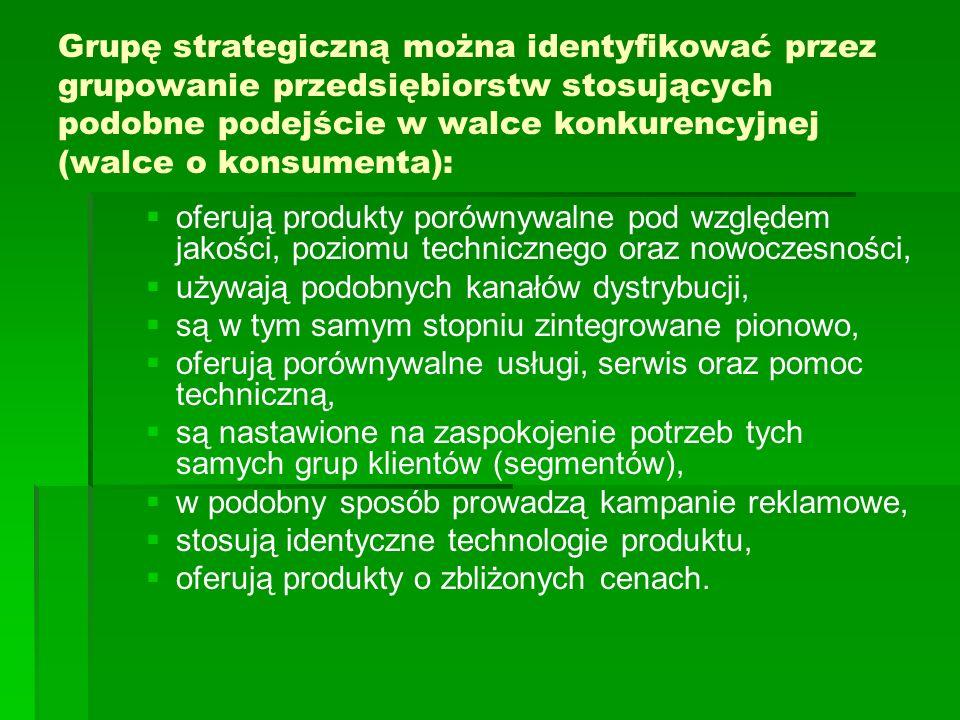 Grupę strategiczną można identyfikować przez grupowanie przedsiębiorstw stosujących podobne podejście w walce konkurencyjnej (walce o konsumenta): oferują produkty porównywalne pod względem jakości, poziomu technicznego oraz nowoczesności, używają podobnych kanałów dystrybucji, są w tym samym stopniu zintegrowane pionowo, oferują porównywalne usługi, serwis oraz pomoc techniczną, są nastawione na zaspokojenie potrzeb tych samych grup klientów (segmentów), w podobny sposób prowadzą kampanie reklamowe, stosują identyczne technologie produktu, oferują produkty o zbliżonych cenach.