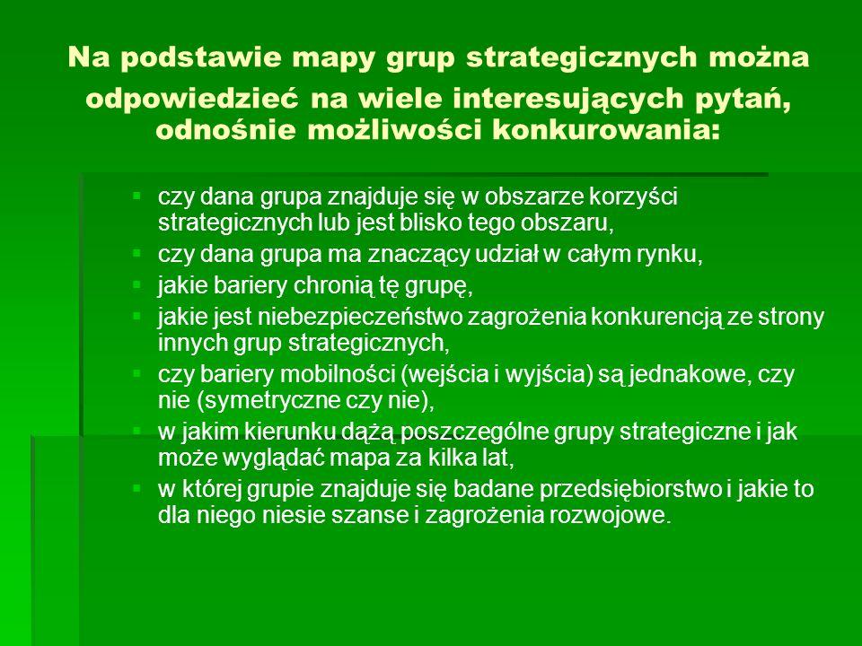 Na podstawie mapy grup strategicznych można odpowiedzieć na wiele interesujących pytań, odnośnie możliwości konkurowania: czy dana grupa znajduje się w obszarze korzyści strategicznych lub jest blisko tego obszaru, czy dana grupa ma znaczący udział w całym rynku, jakie bariery chronią tę grupę, jakie jest niebezpieczeństwo zagrożenia konkurencją ze strony innych grup strategicznych, czy bariery mobilności (wejścia i wyjścia) są jednakowe, czy nie (symetryczne czy nie), w jakim kierunku dążą poszczególne grupy strategiczne i jak może wyglądać mapa za kilka lat, w której grupie znajduje się badane przedsiębiorstwo i jakie to dla niego niesie szanse i zagrożenia rozwojowe.