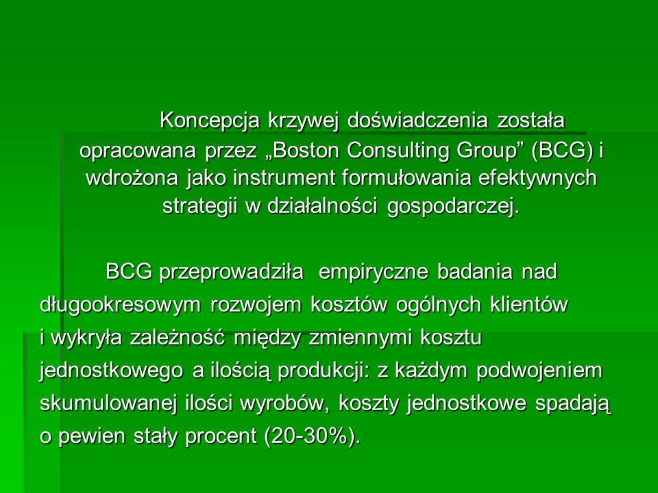 Koncepcja krzywej doświadczenia została opracowana przez Boston Consulting Group (BCG) i wdrożona jako instrument formułowania efektywnych strategii w działalności gospodarczej.