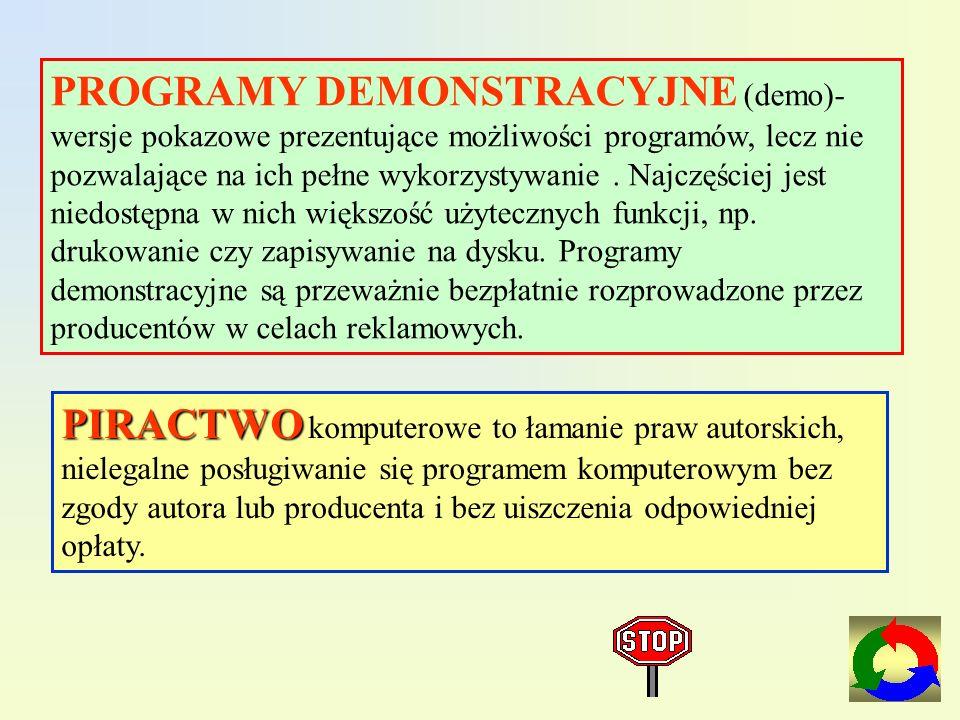 Freeware (czyt.friłer) i public domain(czyt.pablik domejn) - dostępne bezpłatnie oprogramowanie, którego można używać bez żadnych ograniczeń. Niekiedy