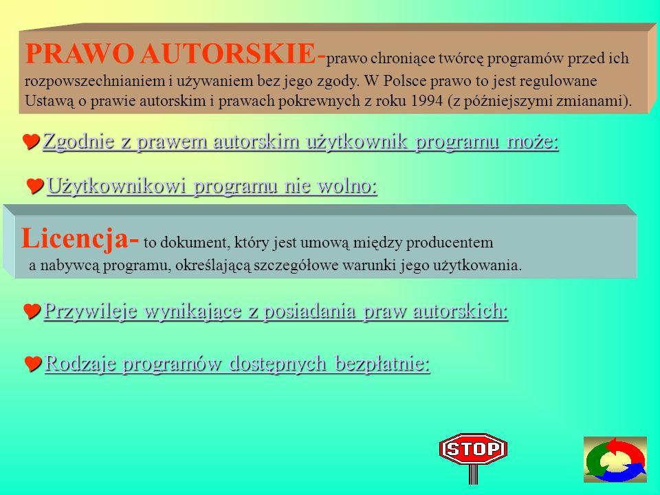 PRAWO AUTORSKIE- prawo chroniące twórcę programów przed ich rozpowszechnianiem i używaniem bez jego zgody.