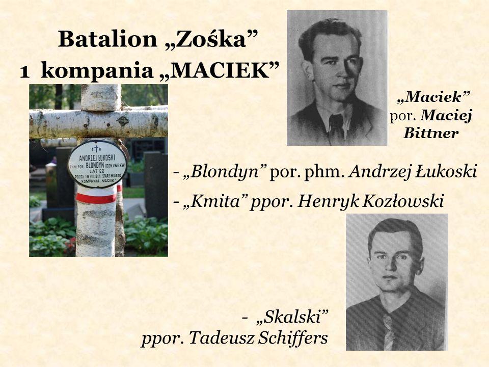 Batalion Zośka 1 kompania MACIEK - Blondyn por. phm. Andrzej Łukoski - Kmita ppor. Henryk Kozłowski - Skalski ppor. Tadeusz Schiffers Maciek por. Maci