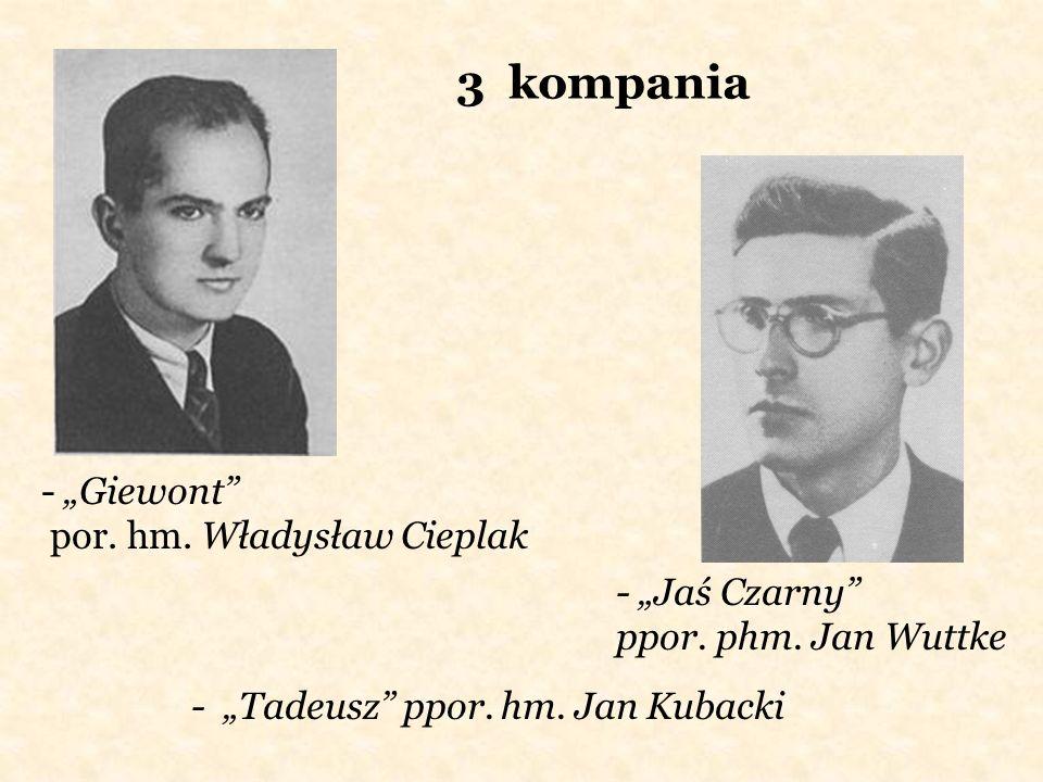 3 kompania - Giewont por. hm. Władysław Cieplak - Jaś Czarny ppor. phm. Jan Wuttke - Tadeusz ppor. hm. Jan Kubacki