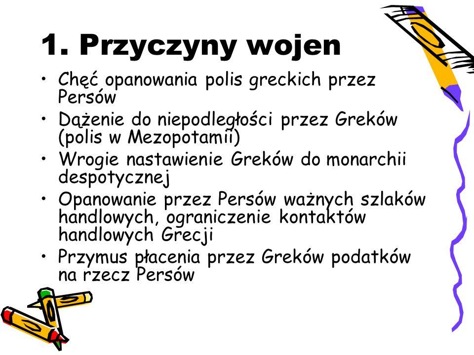 1. Przyczyny wojen Chęć opanowania polis greckich przez Persów Dążenie do niepodległości przez Greków (polis w Mezopotamii) Wrogie nastawienie Greków