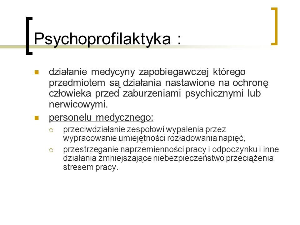 Psychoprofilaktyka : działanie medycyny zapobiegawczej którego przedmiotem są działania nastawione na ochronę człowieka przed zaburzeniami psychicznym