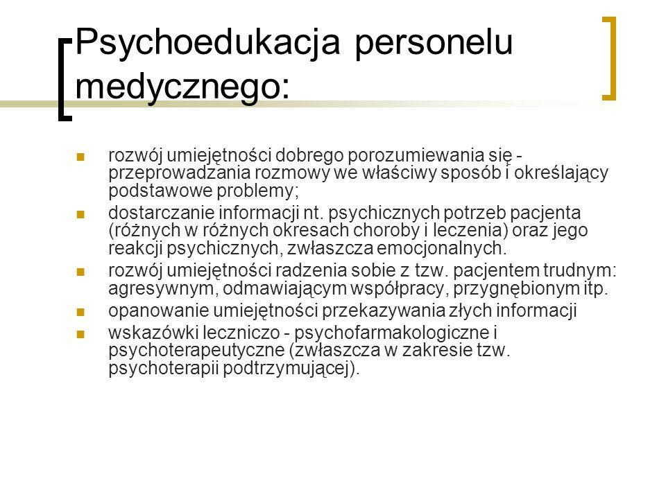 Psychoedukacja personelu medycznego: rozwój umiejętności dobrego porozumiewania się - przeprowadzania rozmowy we właściwy sposób i określający podstaw