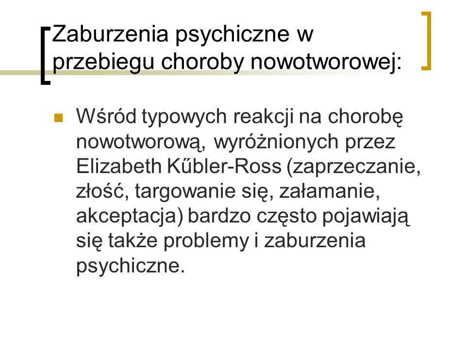 Zaburzenia psychiczne w przebiegu choroby nowotworowej: Wśród typowych reakcji na chorobę nowotworową, wyróżnionych przez Elizabeth Kűbler-Ross (zaprz