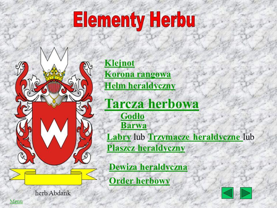 Elementy herbu Pochodzenie herbów Polskich Menu Bibliografia