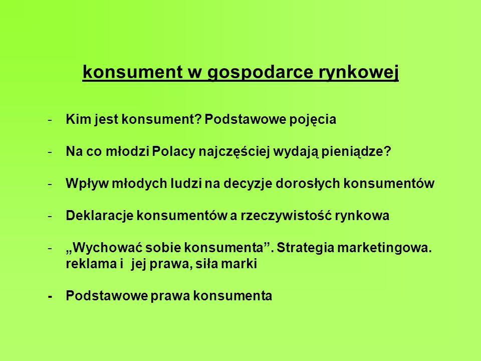 konsument w gospodarce rynkowej -Kim jest konsument? Podstawowe pojęcia -Na co młodzi Polacy najczęściej wydają pieniądze? -Wpływ młodych ludzi na dec