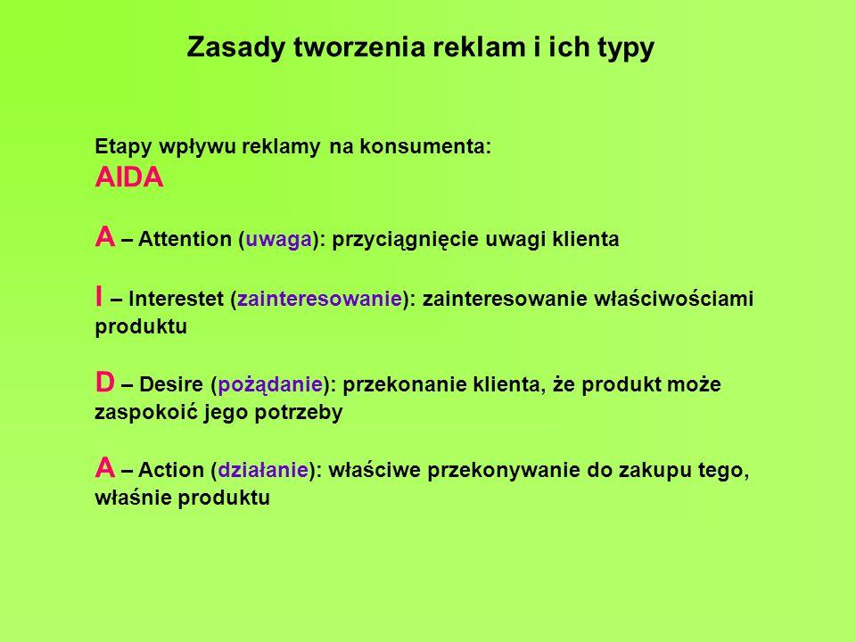 Zasady tworzenia reklam i ich typy Etapy wpływu reklamy na konsumenta: AIDA A – Attention (uwaga): przyciągnięcie uwagi klienta I – Interestet (zainte
