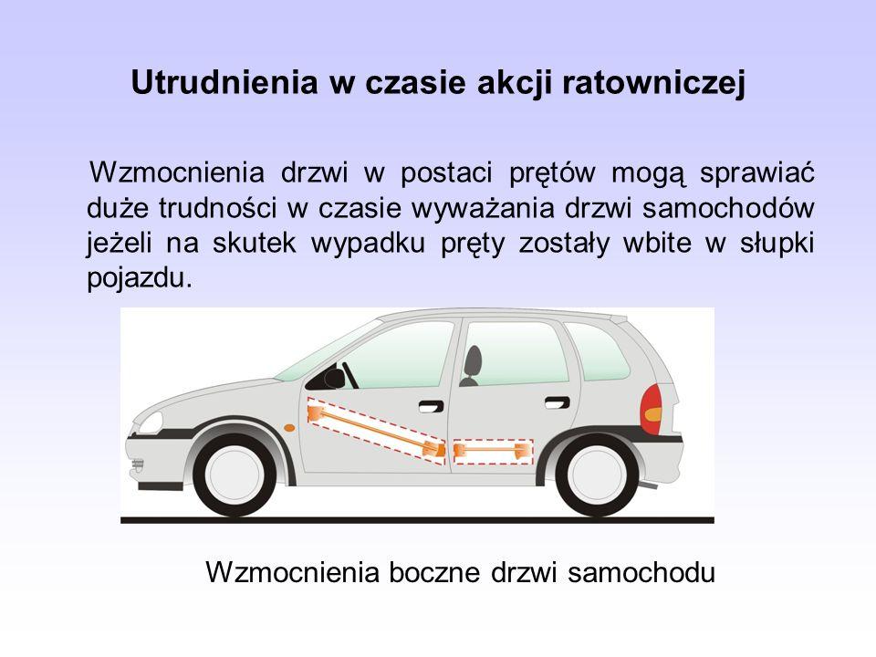 Utrudnienia w czasie akcji ratowniczej Wzmocnienia drzwi w postaci prętów mogą sprawiać duże trudności w czasie wyważania drzwi samochodów jeżeli na s