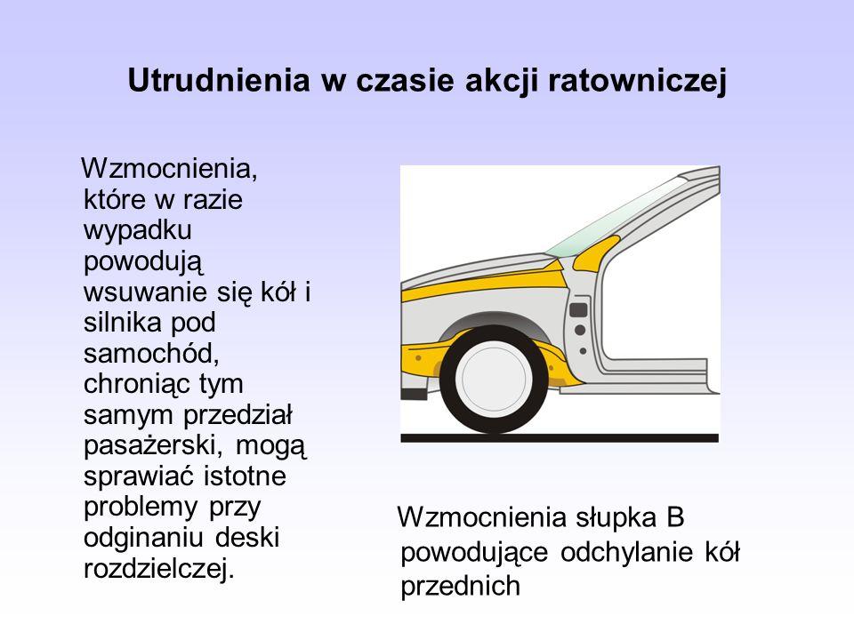 Utrudnienia w czasie akcji ratowniczej Wzmocnienia, które w razie wypadku powodują wsuwanie się kół i silnika pod samochód, chroniąc tym samym przedzi