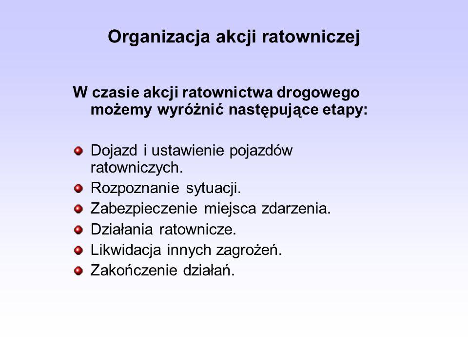 Organizacja akcji ratowniczej W czasie akcji ratownictwa drogowego możemy wyróżnić następujące etapy: Dojazd i ustawienie pojazdów ratowniczych. Rozpo