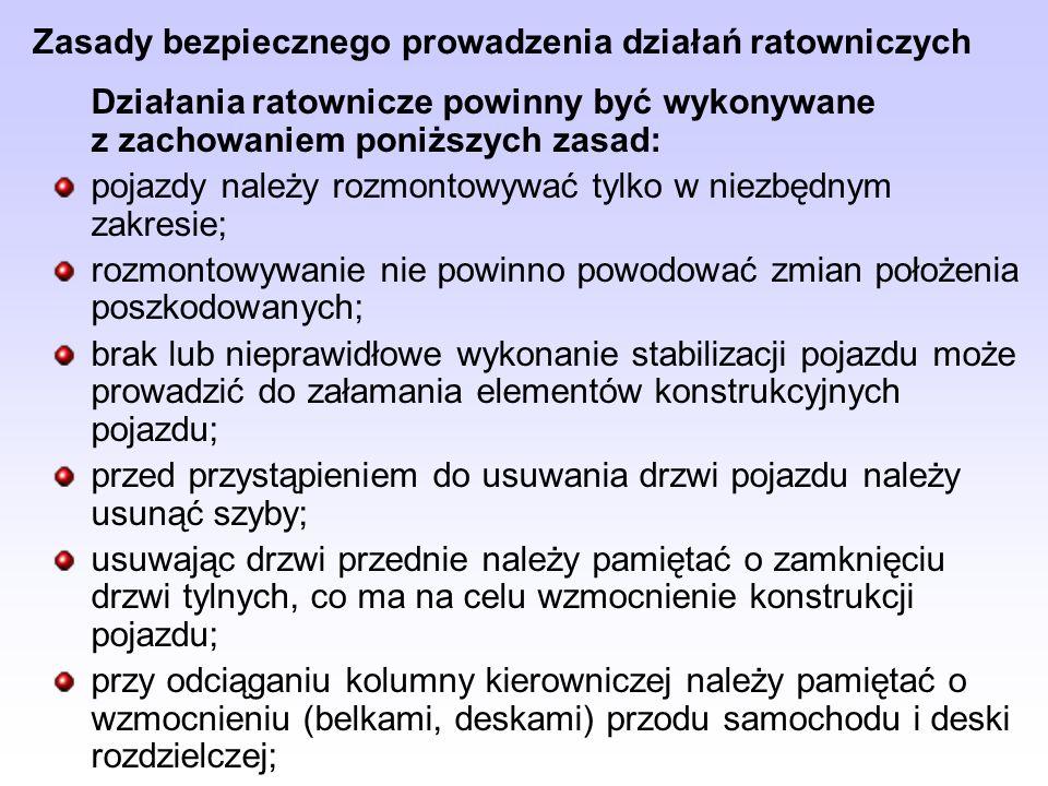 Zasady bezpiecznego prowadzenia działań ratowniczych Działania ratownicze powinny być wykonywane z zachowaniem poniższych zasad: pojazdy należy rozmon