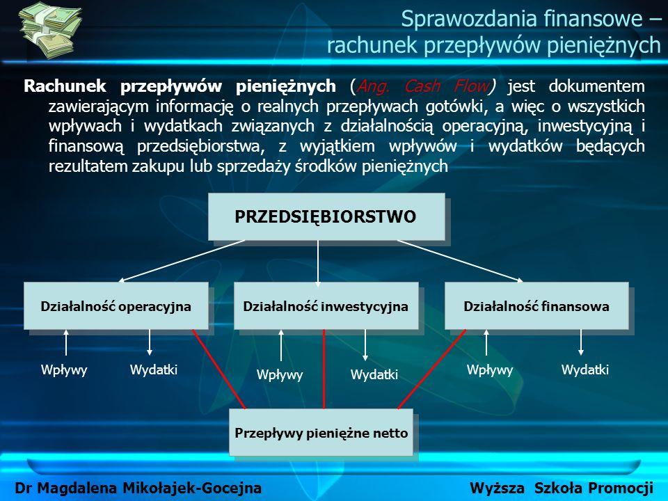 Rachunek przepływów pieniężnych (Ang. Cash Flow) jest dokumentem zawierającym informację o realnych przepływach gotówki, a więc o wszystkich wpływach
